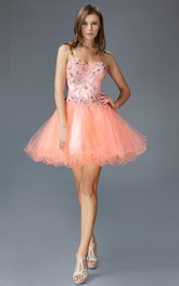A-Line Satin Tulle Jeweled Short Mini Strapless Sweetheart Dress