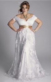 Off-the-shoulder Jersey Lace Cap Short Sleeve Wedding Dress