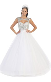 Long Crystal Scoop-Neck Tulle Keyhole Satin Ball Gown