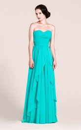 A-Line Pleated Floor-Length Sleeveless Sweetheart Chiffon Long Gown