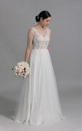 Tulle Venice Lace Appliqued Sleeveless Scoop-Neckline Dress