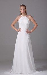 A-Line Halter Chiffon Sleeveless Long Gown