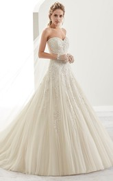 Sweetheart A-line Ball Gown Wedding Dress With Appliques And Beading