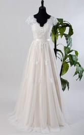Lace Low-V Back Bridal Tulle Cap-Sleeve Satin Dress