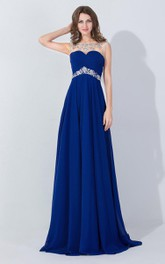 Long Jewel Embellishment Chiffon A-Line Floor-Length Dress