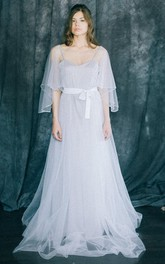 Spaghetti-strap A-line Tulle Floor-length Dress With bow And cape