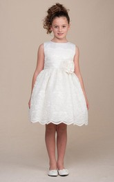 Lace Sash Pleated 3-4-Length Flower Girl Dress