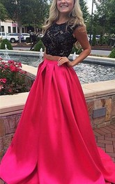 Two-Piece Brush Train Jewel Lace Newest Prom Dress