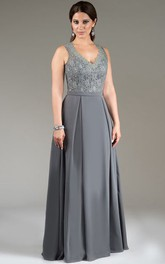 V-neck Sleeveless Lace Mother of the Bride Dress With Keyhole