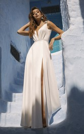 Sexy Plunging Sleeveless Front Split Wedding Dress With Cute Bows And Sash Details