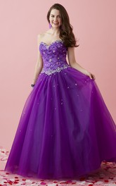 Long Jeweled Lace Sweetheart Strapless Tulle Sleeveless Lace-Up Ball Gown