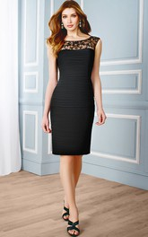 Scoop-neck Cap-sleeve bodycon Dress With Ruching And Beading