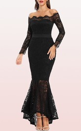 Long Sleeve Mermaid Off-the-shoulder Lace Prom Dress With Sash