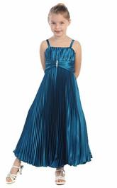 Pleated Spaghetti Tea-Length Satin Flower Girl Dress