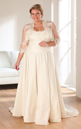 3-4-Sleeve Appliqued Long A-Line Sweep-Train Gown