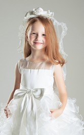 Lace Bottom Ruffled Sweet Tulle Flower Girl Veil with Bow