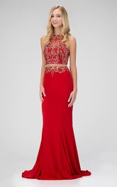 2-Piece Zipper Jeweled Column Long Sleeveless Scoop-Neck Jersey Dress