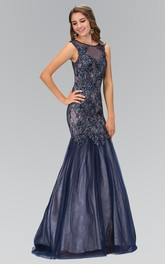 Trumpet Appliqued Jeweled Full-Length Scoop-Neck Illusion Sleeveless Dress