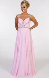 Strapped Chiffon Ruched A-line Prom Dress With Illusion And Beading