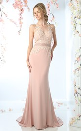 Haltered Sleeveless Jersey Sheath Dress With Appliques And Jeweled Waist