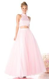 A-Line Jeweled Ankle-Length High-Neck Satin Sleeveless Keyhole Dress
