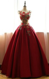 Long Satin Lace Scoop Sleeveless Embroidery Bell Lace-Up Ball Gown