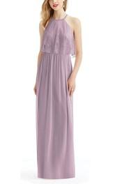 High-neck Lace Bodice Chiffon Floor-length Bridesmaid Dress