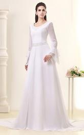 Illusion Sleeve Jeweled Waist Chiffon Gossamery Dress