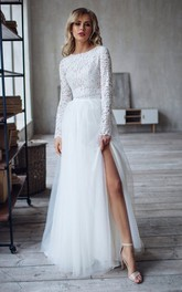 Bateau Lace Tulle Long Sleeve Sweep Train Button Two Piece Wedding Dress