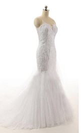 Spaghetti-strap Mermaid Tulle Wedding Dress With Beading And Illusion