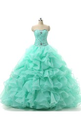 Jeweled Ruffled Organza Ball Gown