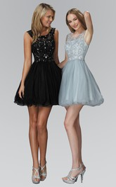 A-Line Satin Jeweled Sequined Short Mini Sleeveless Bateau Tulle Dress
