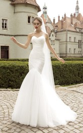 Sleeveless Ruched Fishtail Sweetheart Floor-Length Dress
