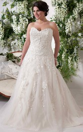 Sweetheart A-line Tulle Lace plus size wedding dress With floral Appliques