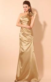 Ruched Flower Single-Shoulder Asymmetrical Dress