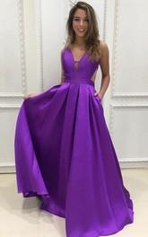 A Line Satin V-neck Sleeveless Floor-length Sweep Train Evening Formal Dress With Pockets