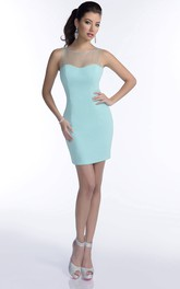 simple Scoop-neck Sleeveless Pencil short Dress With Illusion
