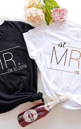 Mr and Mrs Shirt Letter Printed Casual Wedding Short Sleeve Tops