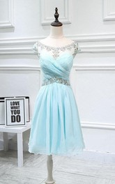 Chiffon Rhinestone Ruched Cap-Sleeve Short Dress
