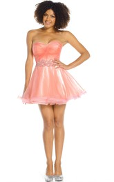 Short A-Line Sweetheart Sleeveless Criss-Cross Organza Prom Dress