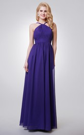Long Key Hole Chiffon A-Line Halter Floor-Length Dress