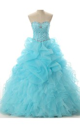 Full-Length Organza Sequined Off-The-Shoulder Sweetheart Lace-Up Jeweled Lace Ball Gown