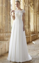 Bateau Short Sleeve A-line Wedding Dress With Pleats And Sweep Train