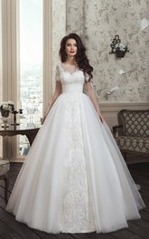 Sleeves Long Princess Neck Gown