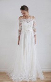 Lace Button Tulle Off-The-Shoulder Taffeta Gown