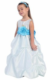Organza Satin Ribbon Ruched Floral Flower Girl Dress