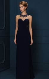 Sheath High-Neck Sleeveless Floor-Length Crystal Jersey Evening Dress