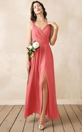 Elegant A Line Chiffon V-neck Ankle-length Bridesmaid Dress With Ruching
