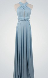 Haltered Sheath Floor-length Chiffon Dress With bow