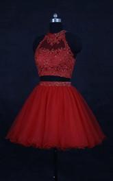 Mini High-neck Organza Dress With Beading